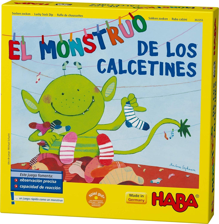 HABA Monstruo de los Calcetines-ESP (302255), Juego de búsqueda 2-6 Jugadores de 4 a 99 años, reacción rápida y Consejos para el Desarrollo del lenguaje, para Toda la Familia: Amazon.es: Juguetes y juegos