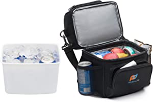 Small Cooler Bag with Leakproof Hard Liner Bucket. Multi-Compartments with Thick Foam Insulation to Store Food, Medicines, Breast Milk Bottles.