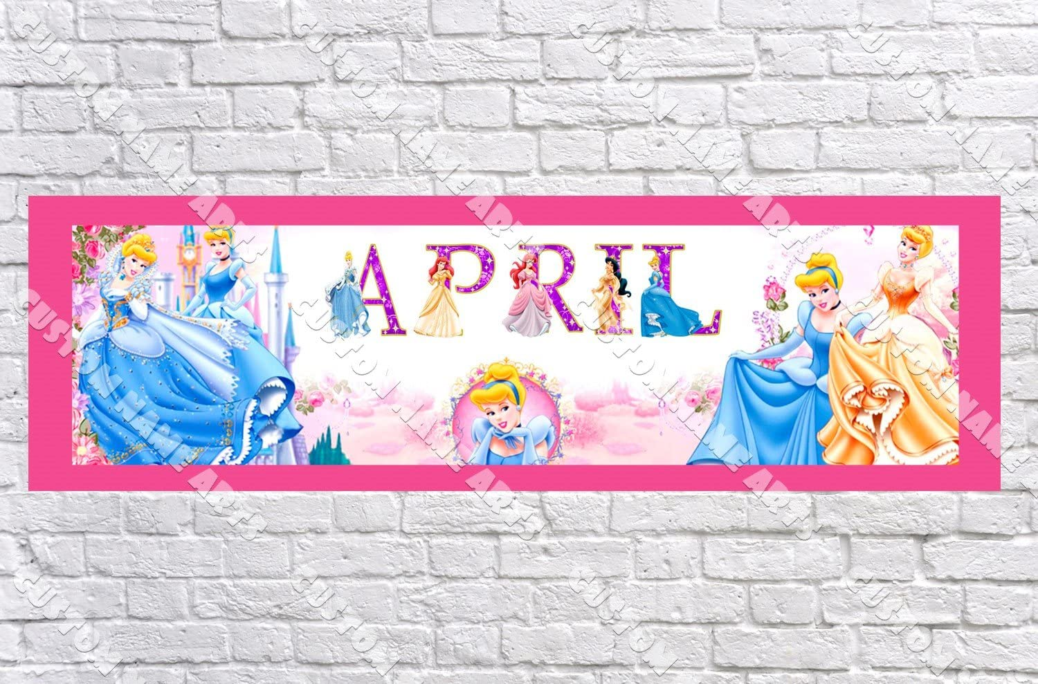 Personalized//Customized Disney Princess 2 Name Poster Wall Art Decoration Banner