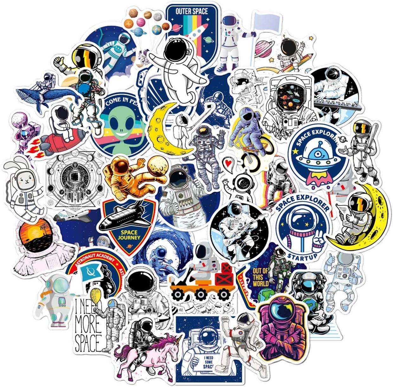 100pcs NASA Stickers Space Astronaut Stickers for Hydroflask Water Bottles Laptop Computer Skateboard Car Water Bottles Waterproof Vinyl Graffiti Stickers Decor Gifts for Girls Boys