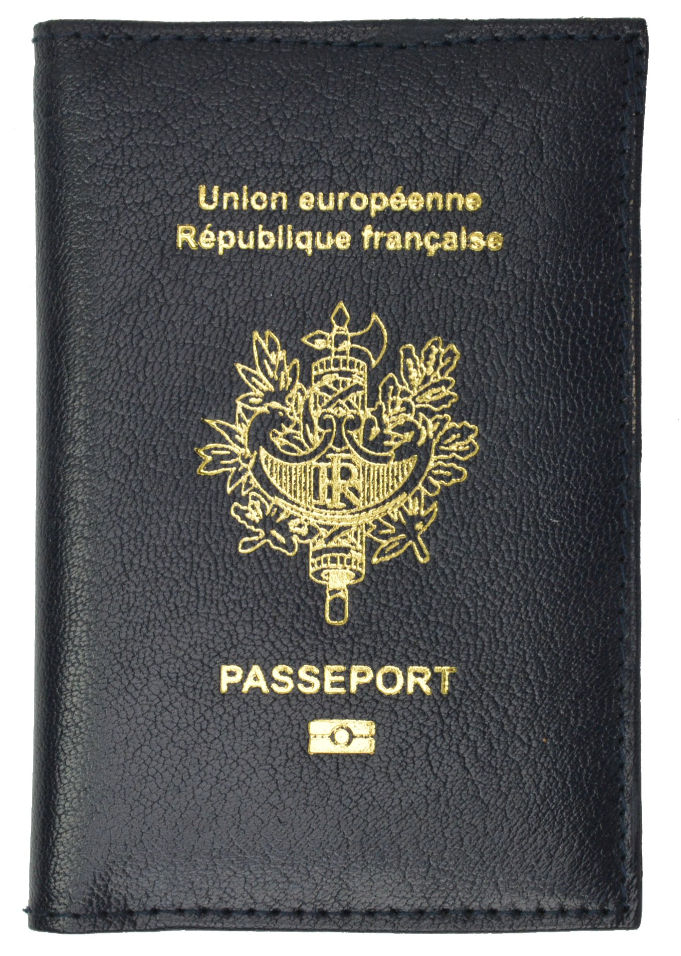 France Passport Cover Genuine Leather Passport Holder Travel Wallet REPUBLIQUE FRANCAISE (Blue)