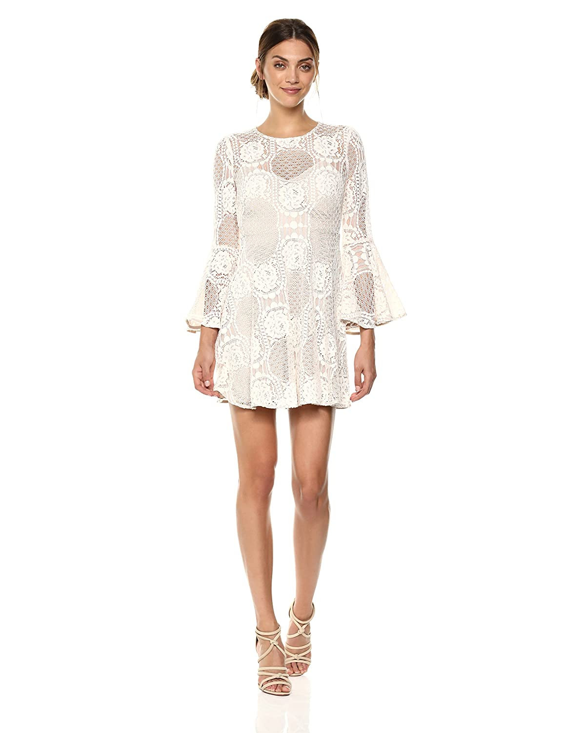 Donna Morgan Women s Fit and Flare Bell Sleeve Dress at Amazon Women s  Clothing store  d4ca30c3a