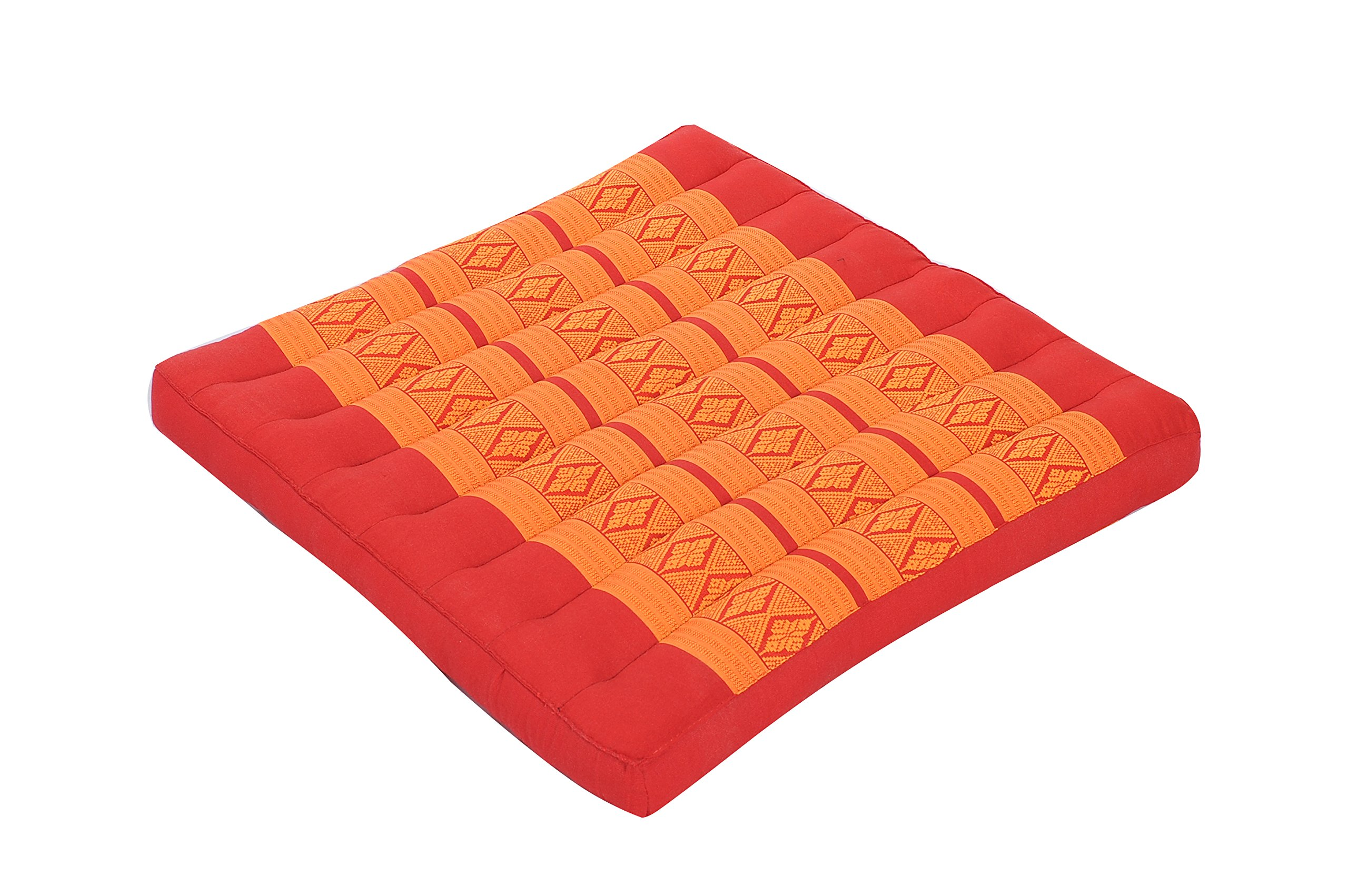 Kapok Dreams Seat Cushion 20''x20''x2'', Thai Design Orange & Red, Firm Natural Kapok Filling, Great as Floor Pillow Meditation Zabuton