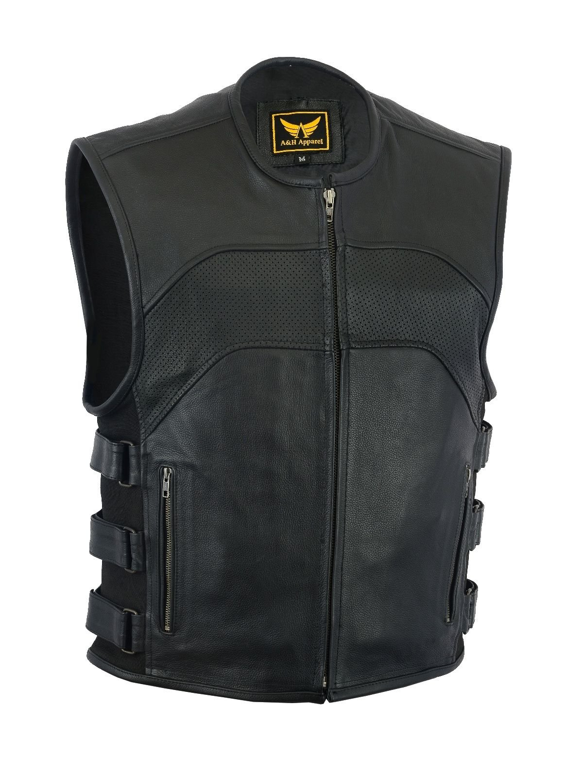 A&H Apparel Mens Motorcycle Biker Classic Vest Genuine Cowhide Leather Vest With Gun Pocket (X-Large)