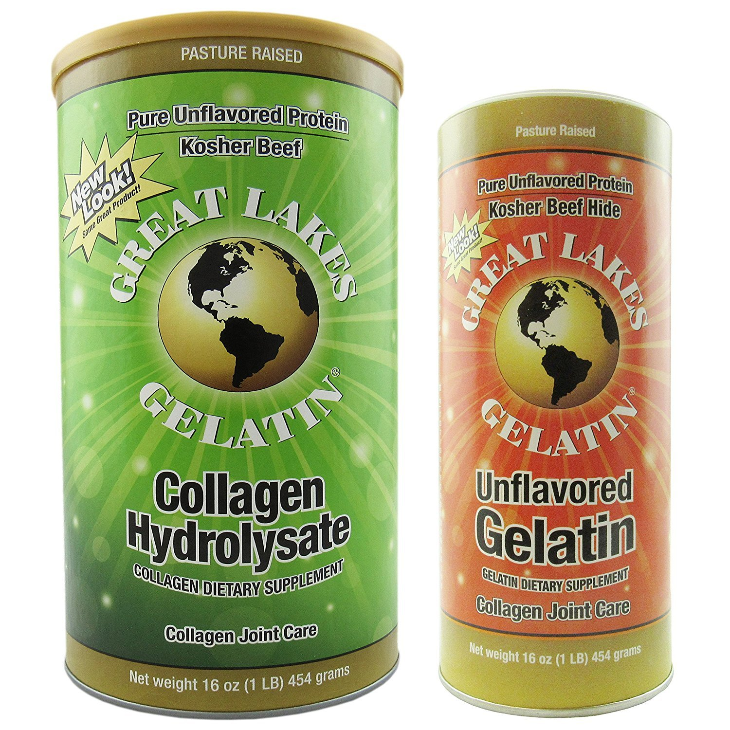 Great Lakes Gelatin, Kosher, 16-Ounce Cans of Unflavored and Collagen Hydrolysate