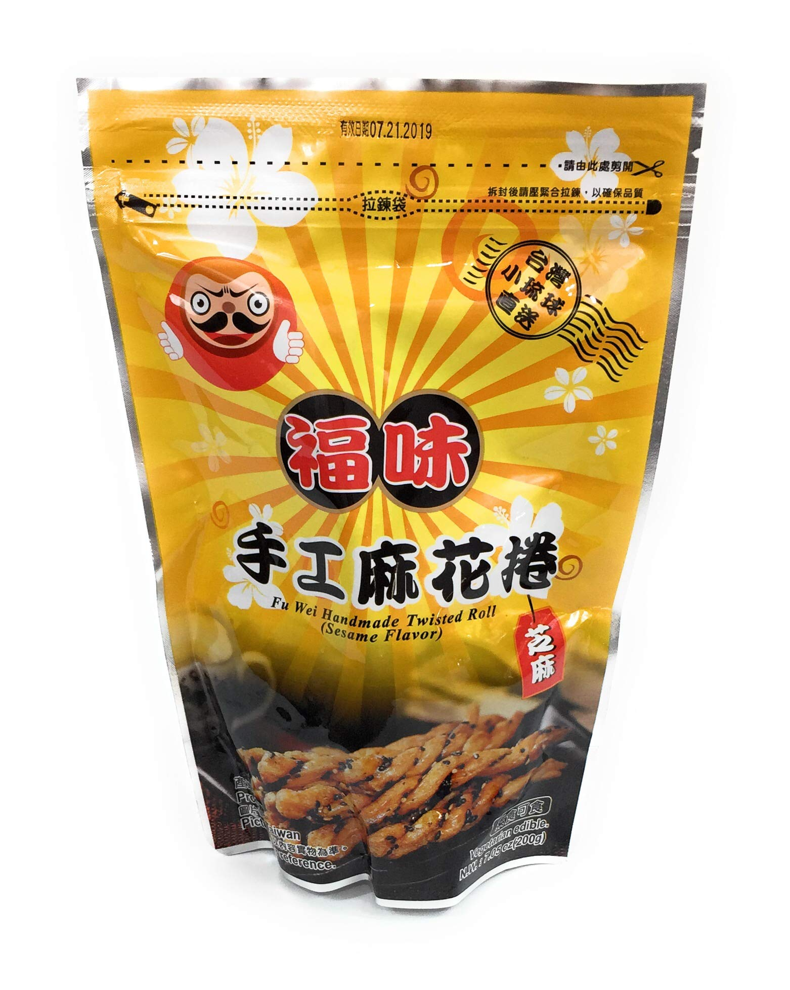 Fu Wei Handmade Twisted Roll Sesame Flavor 200g / 7.05oz (Pack of 20)