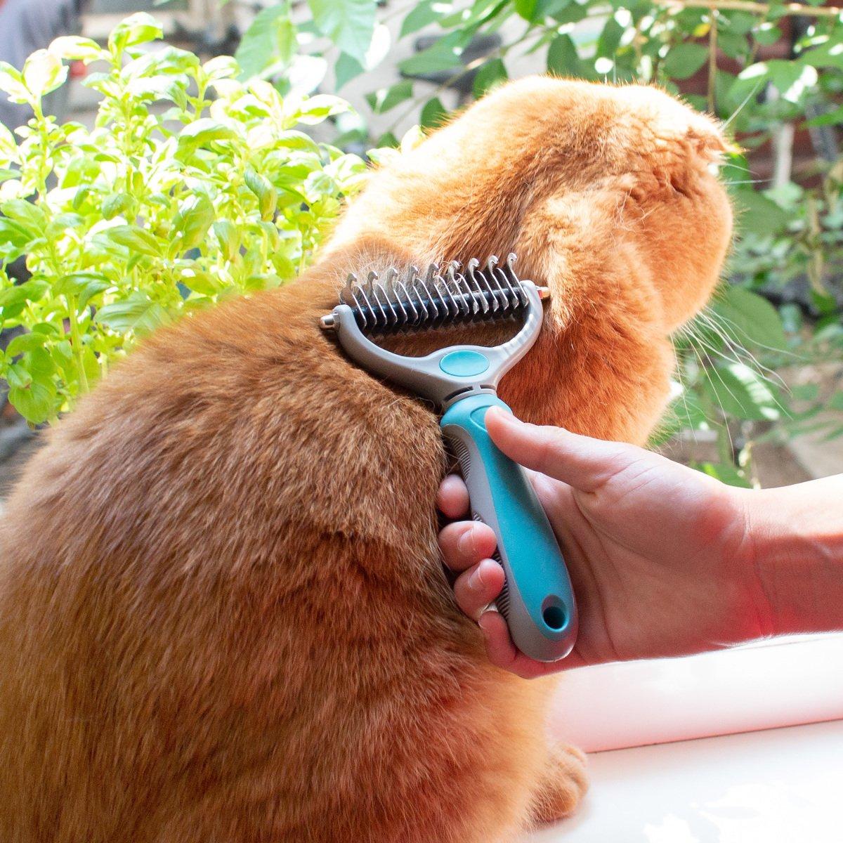 Navaris Cepillo para Capa Inferior de Pelo en Perros y Gatos - Peine Capa Interior de Pelaje Largo y Corto - Cepillo Corta-Nudos para Piel Sensible: ...