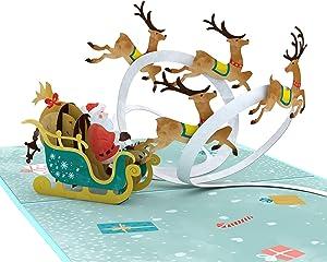 Lovepop Santa Sleigh Pop Up Card - 3D Cards, Christmas Pop Up Cards, Holiday Pop Up Cards, Christmas Cards, Santa Greeting Card, Santa Card