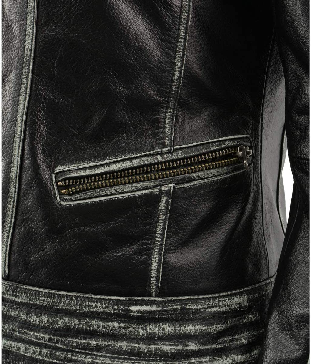 Milwaukee Leather MLL2526 Women Distressed Black Leather Jacket With Lace Distressed Grey 2X-Large