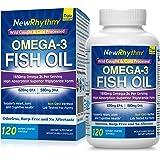 NewRhythm Triple Strength Omega 3 Fish Oil, 1650mg Omega3s, 120 Enteric Coated Softgels, 2500mg Fish Oil Per Serving