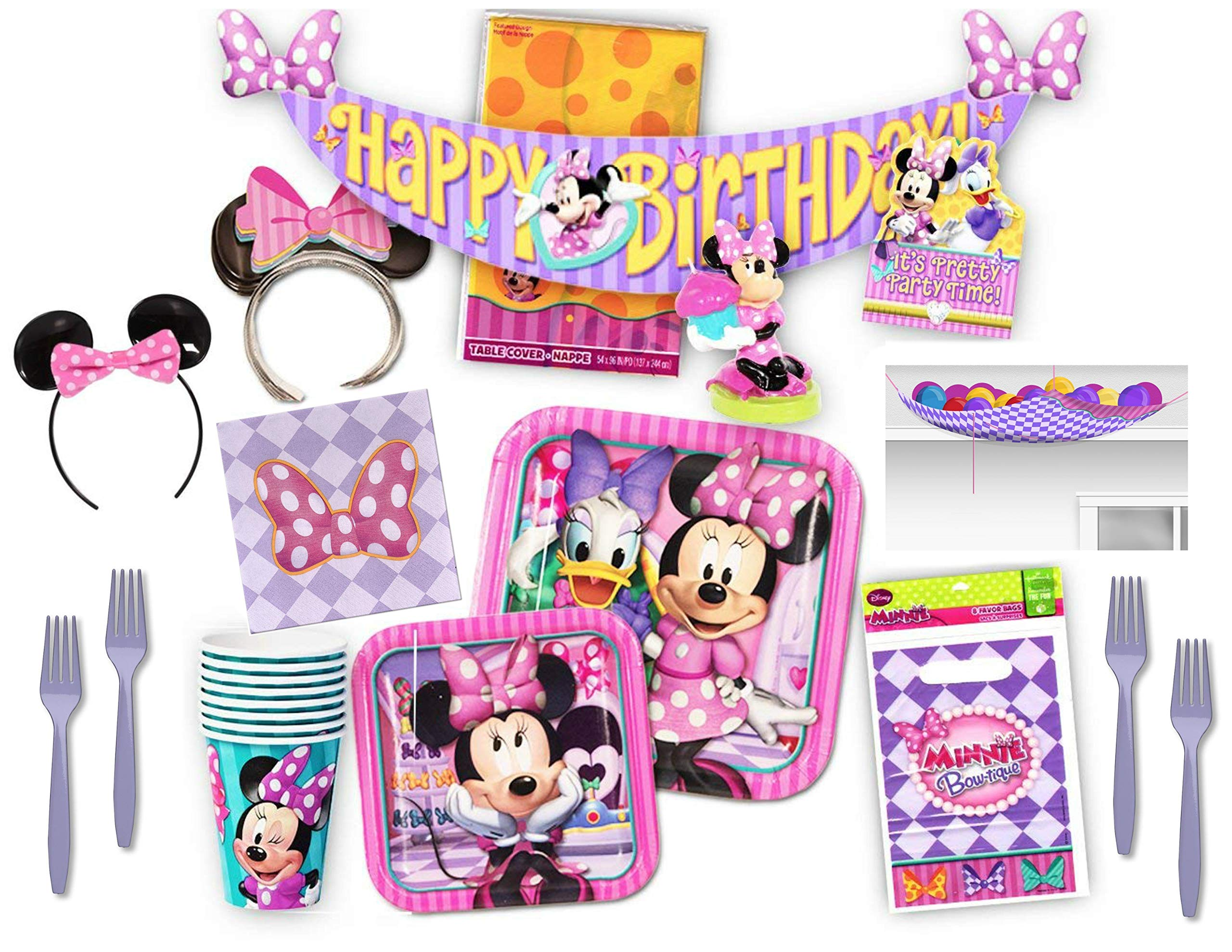 Minnie Mouse Bow-tique Mega Party Supply Bundle for 8 Guests - Plates, Napkins, Cups, Tablecover, Banner, Candle, Forks, Invitations/Thank Yous, Loot Bags, Party Ears and Party Game
