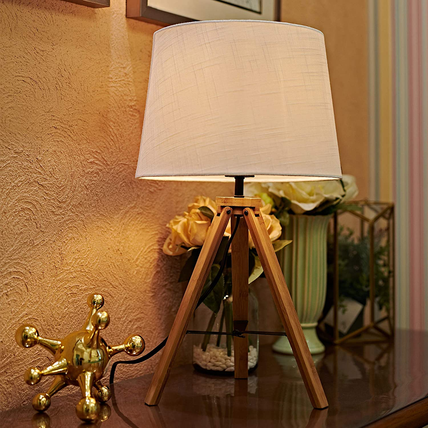 Amazon Com Motini 21 Tripod Table Lamp Modern Besides Desk Lamp Bamboo With White Fabric Shade For Bedroom Study Livingroom End Table Light Ul Listed Home Improvement