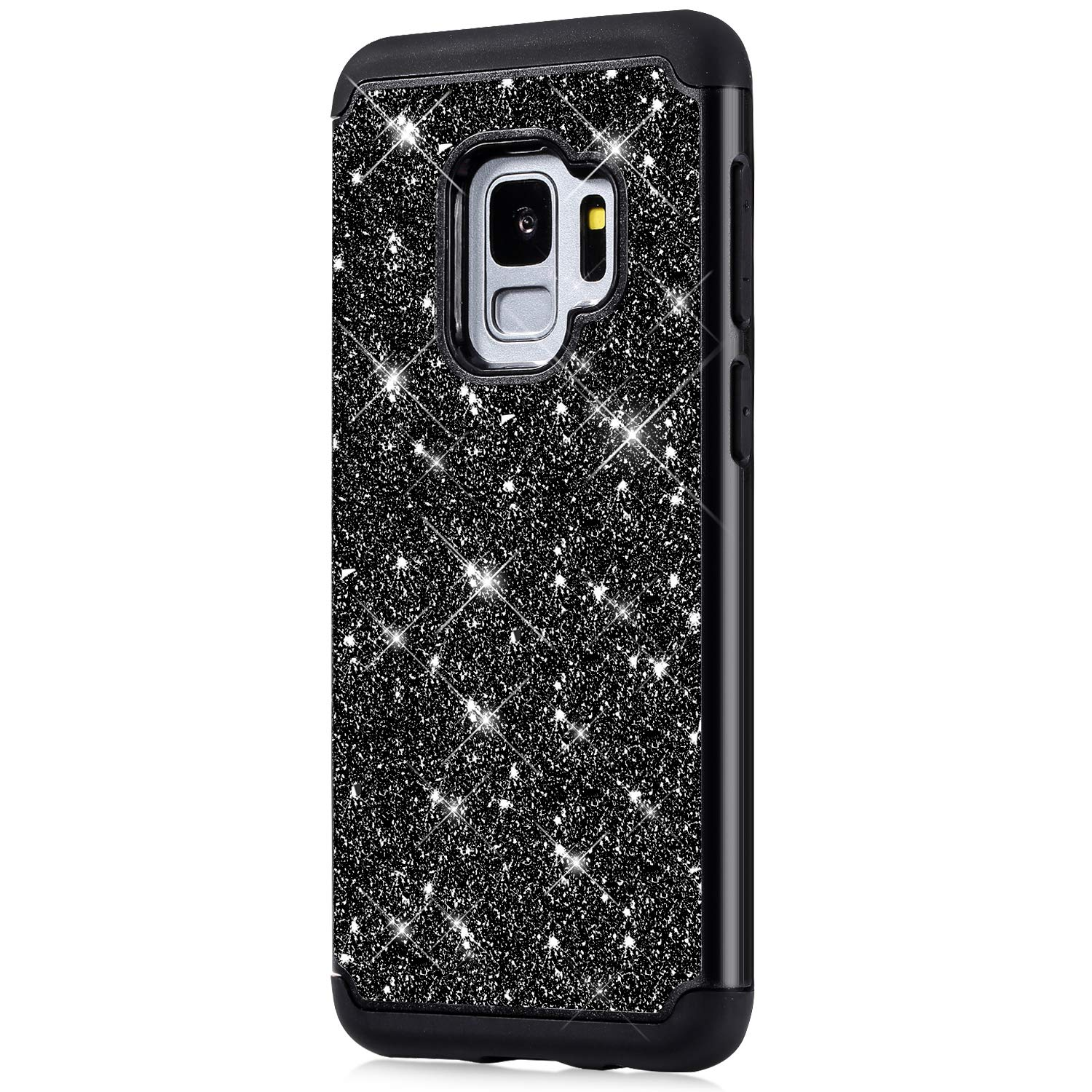 ikasus Case for Galaxy S9 Bling Case,Glitter Sparkle Bling Full-Body Protection Heavy Duty Hybrid Shockproof Defender Hard Shell Silicone Rubber TPU Cover Case for Galaxy S9 Cover,Black by ikasus