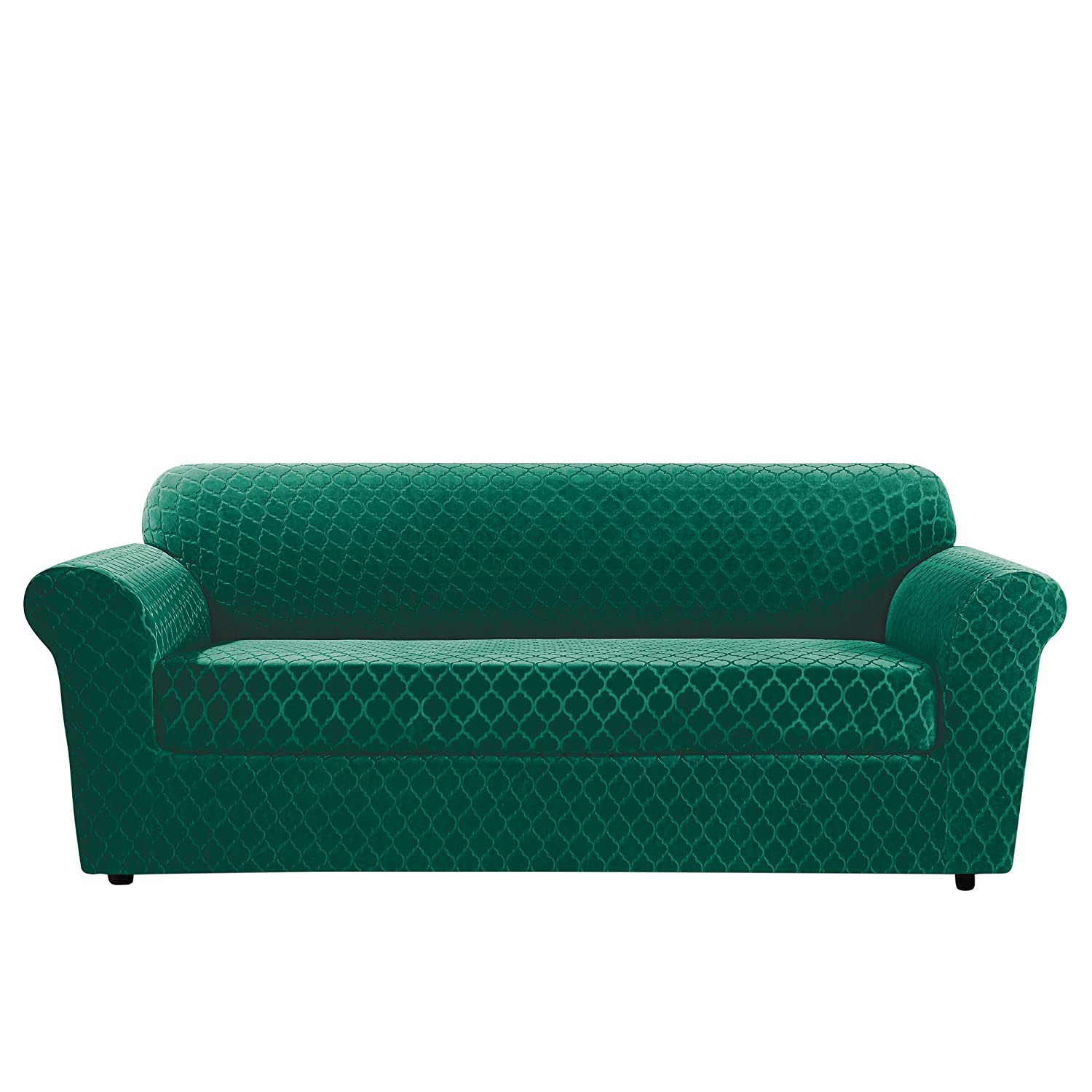 Surefit Sure Fit Stretch Grand Marrakesh Loveseat Slipcover (SF46915) (Emerald, Box Cushion Sofa)