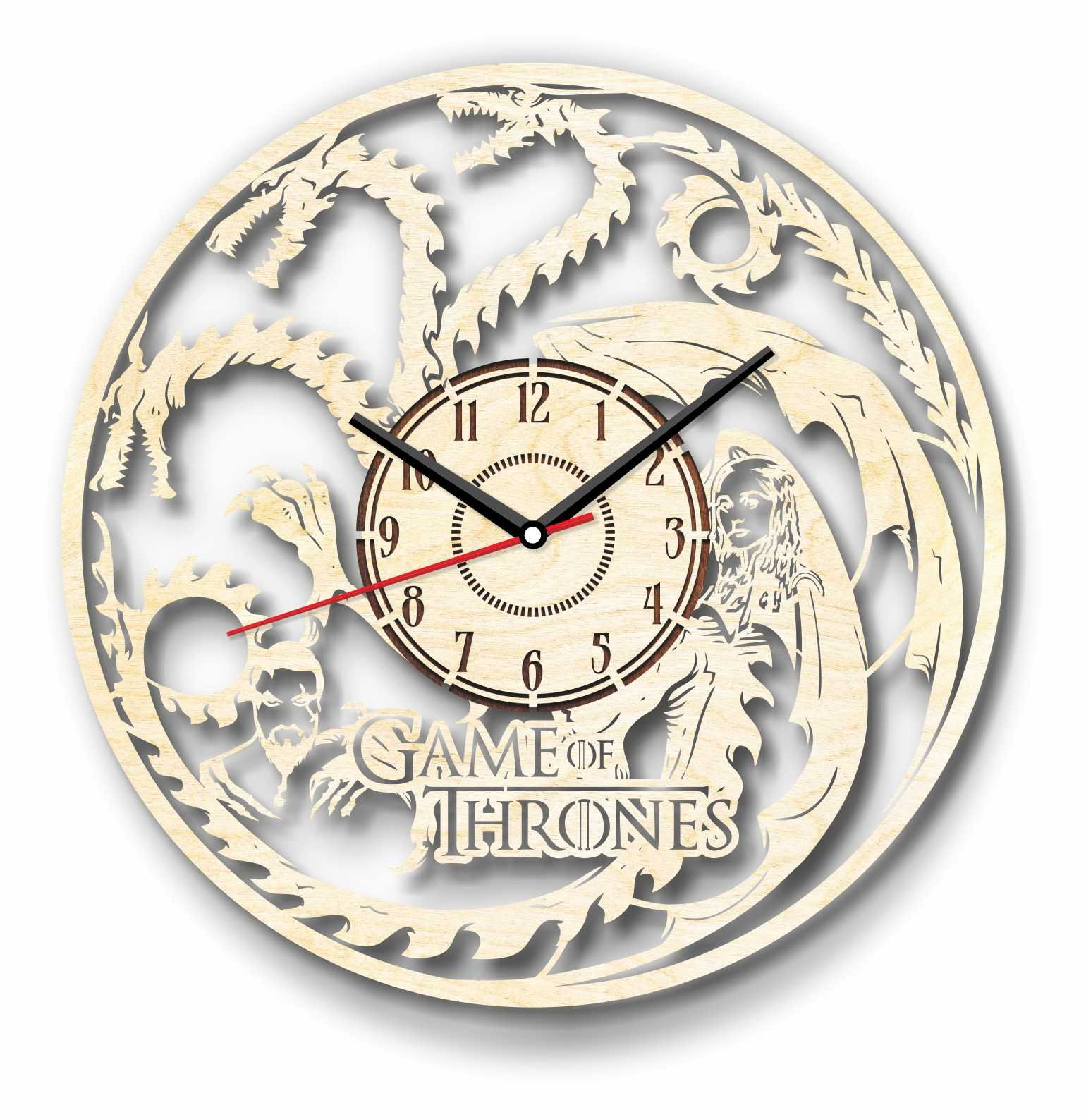 7ArtsStudio Game of Thrones Mother of Dragons Wall Clock Made of WOOD - Perfect and Beautifully Cut - Decorate your Home with MODERN ART - UNIQUE GIFT for Him and Her - Size 12 Inches