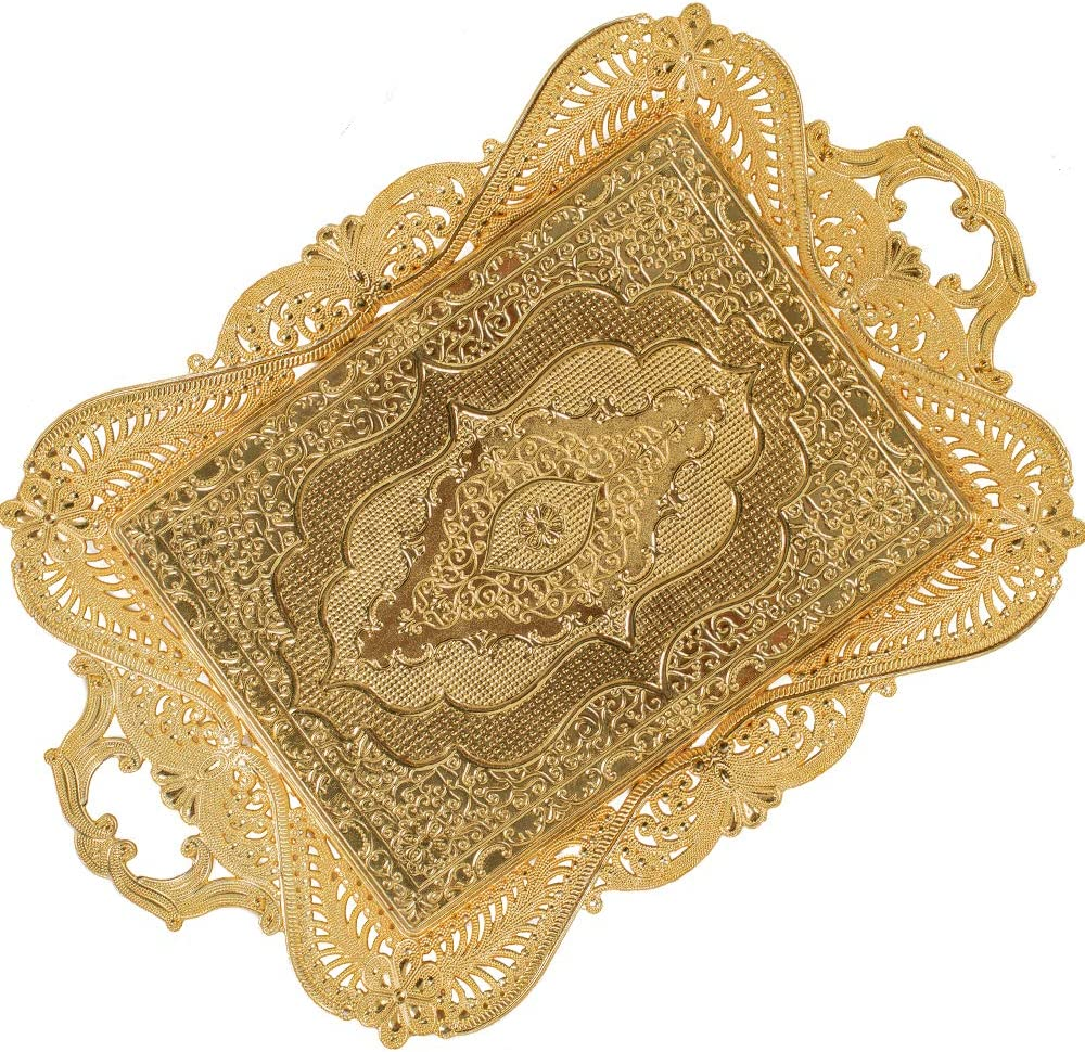 Gold Decorative Turkish Ottoman Moroccan Tea Coffee Beverage Serving Tray for Bar Outdoor Dresser Home Rustic Gift Women (15.3 inch-10.2 inch)