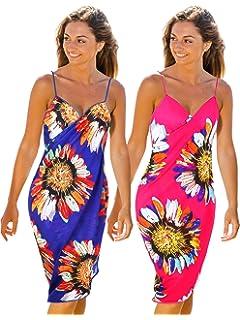 2dbdfa5e4f02c Blulu 2 Pieces Floral Printed Beach Dress Backless Bikini Dress Beach  Spaghetti Strap Cover-up