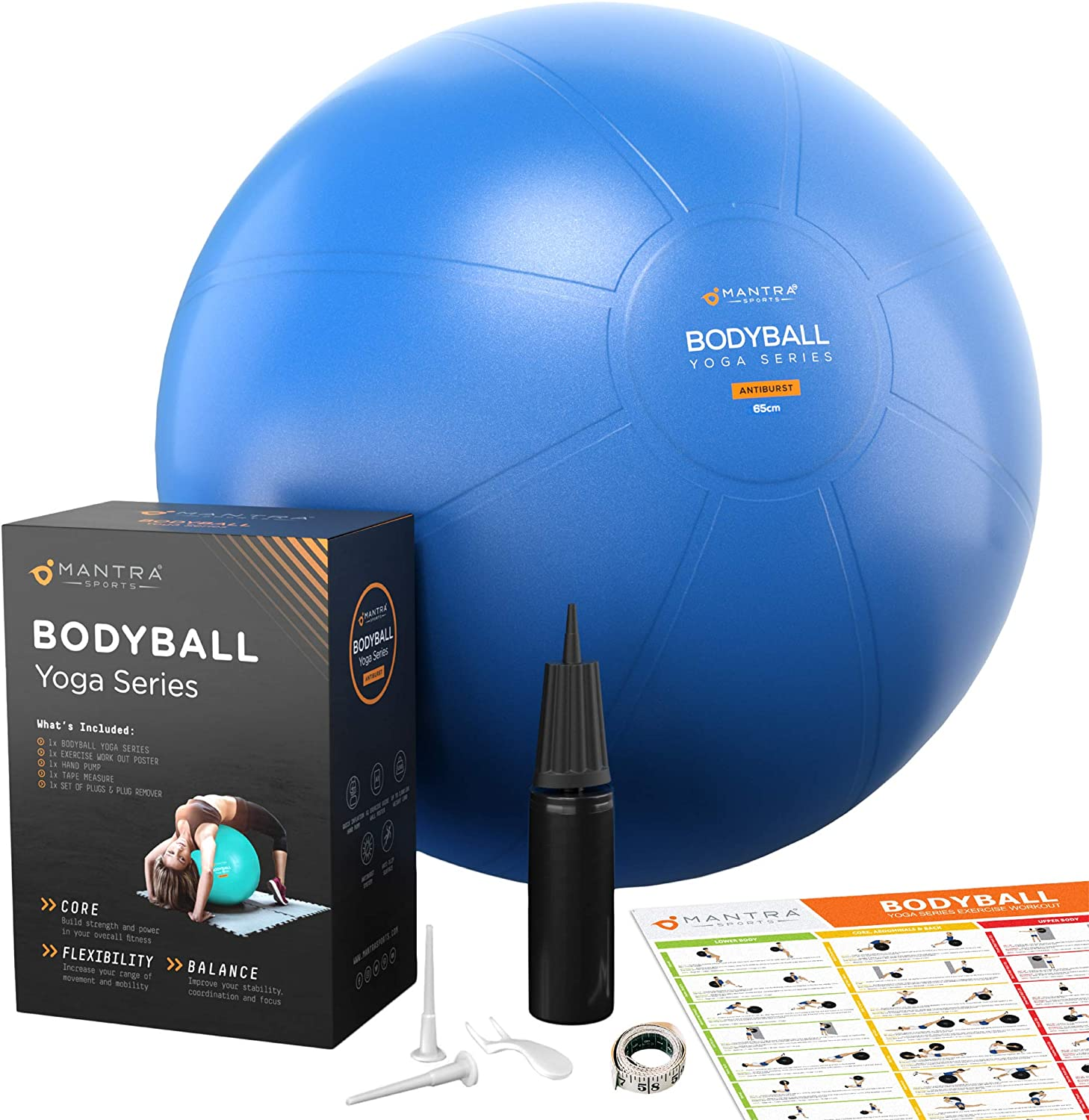 Exercise Ball | Stability Ball for Fitness, Yoga, Pilates, Pregnancy, Birthing or Office Desk Chair - 65cm Extra Thick, Anti-Burst & Non-Slip, Gym Quality Workout Ball For Adults - With Pump & Guide