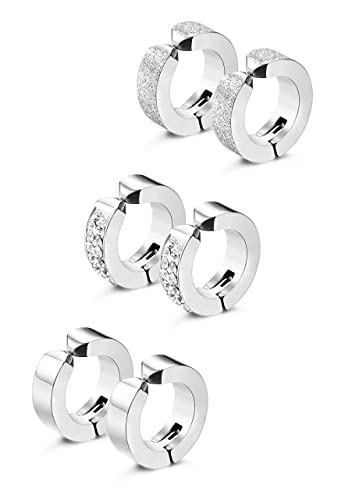 Amazon.com: Jstyle 3 – 6 pares de pendientes de aro de acero ...