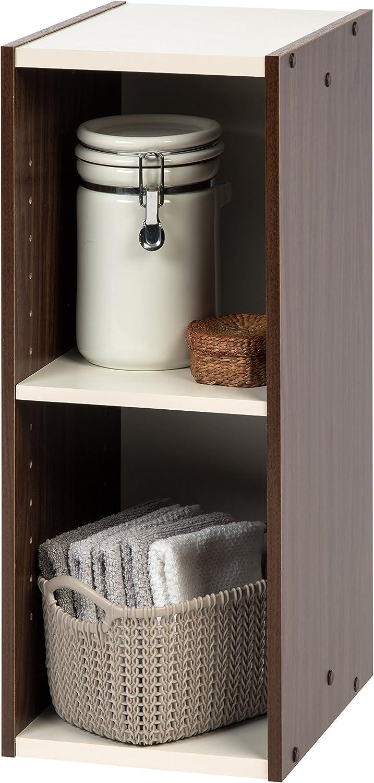 "IRIS USA, , Narrow Space Saving Shelf with Adjustable Shelf, 10 x 23"", Walnut Brown, 1 Pack"