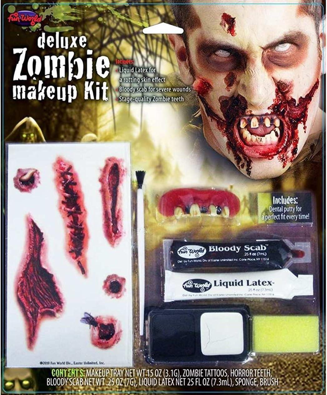 Halloween Makeup /& Fake Blood Kit Zombie Green Orange Paint Sticks Sponge
