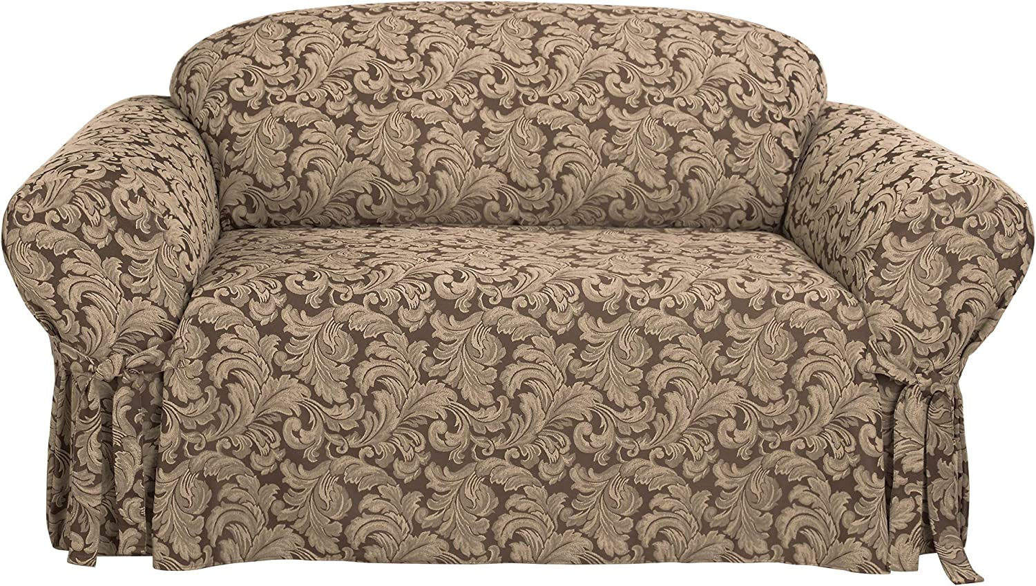 SureFit Home Decor Scroll Damask Box Cushion Loveseat One Piece Slipcover, Relaxed Fit, Cotton/Polyester, Machine Washable, Brown Color