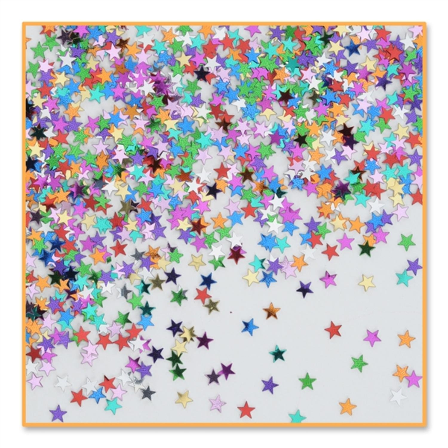 Party Central Pack of 6 Metallic Multi-Colored Star Celebration Confetti Bags 0.5 oz.