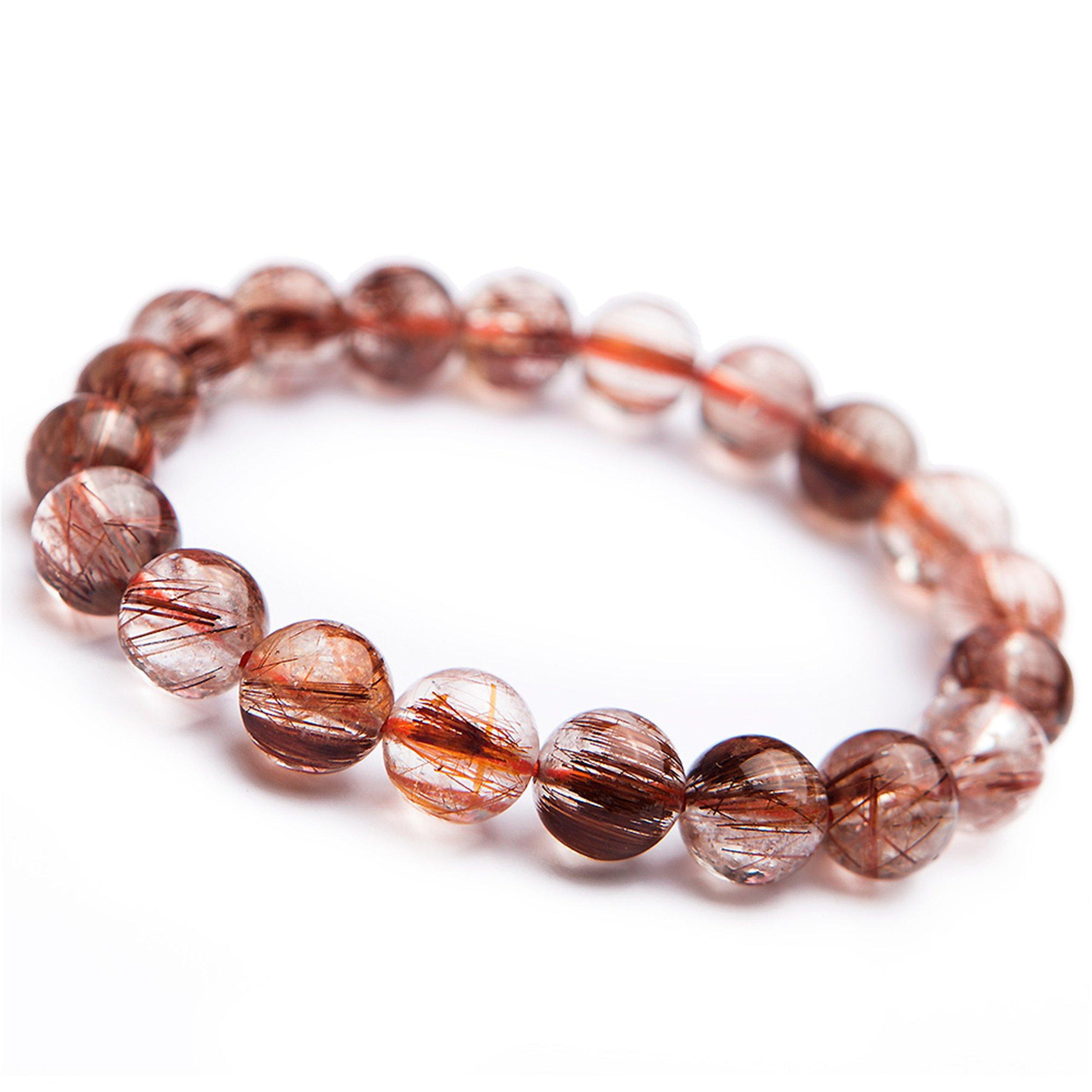 9mm Brazil Natural Copper Rutilated Quartz Crystal Round Bead Stretch Woman Bracelet