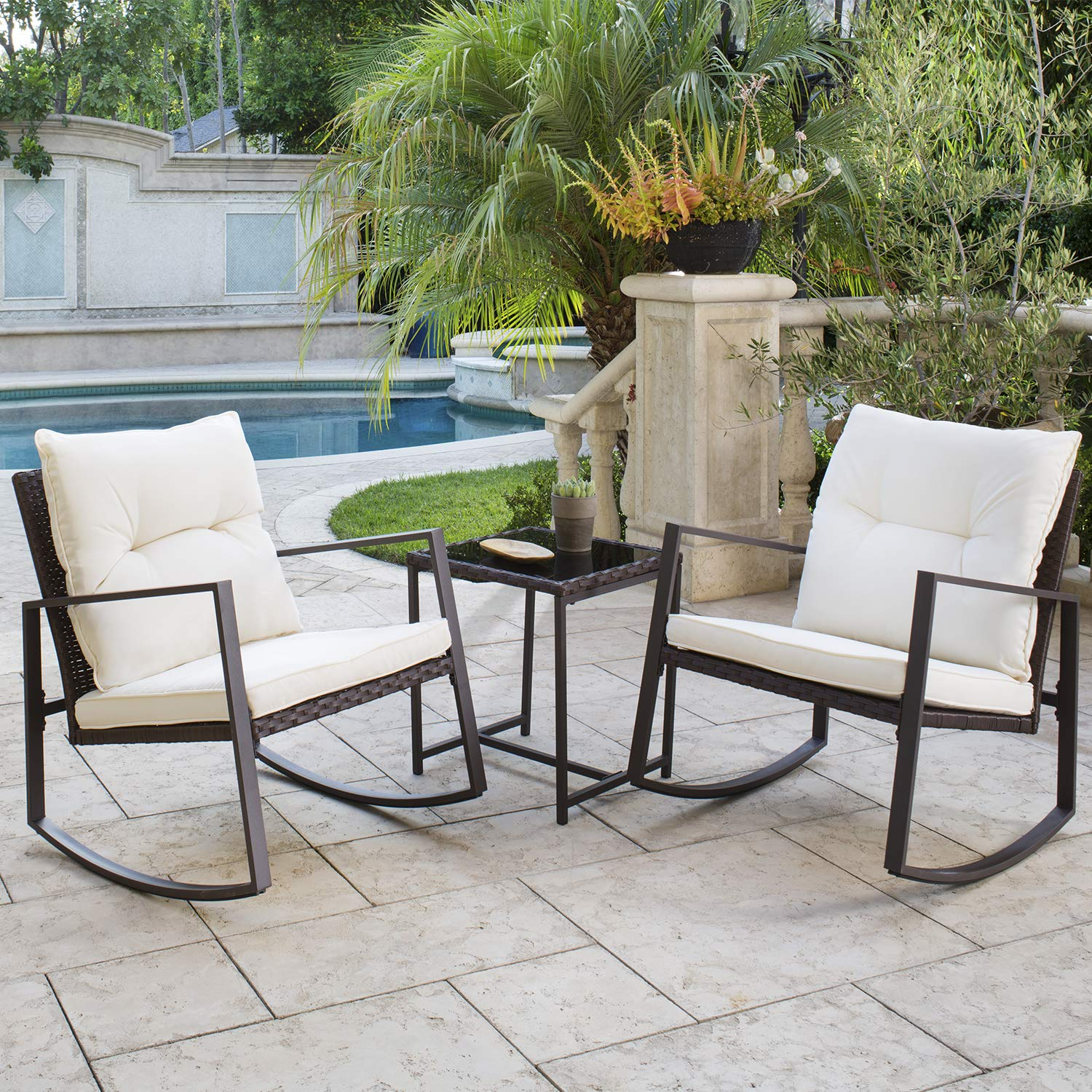 Solaura Outdoor Furniture 3-Piece Bistro Set Brown Wicker Patio Rocking Chairs with Beige Cushions & Glass Coffee Table