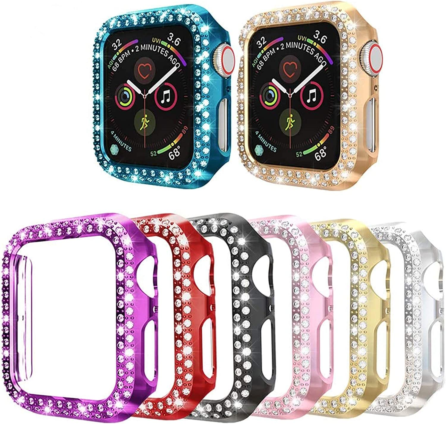 8PACK Bling Crystal Diamonds Plate Case Cover Protective Frame Compatible with Apple Watch 38mm/42mm/40mm/44mm Watch Bumper (8 Colors Pack, 38mm Watch)