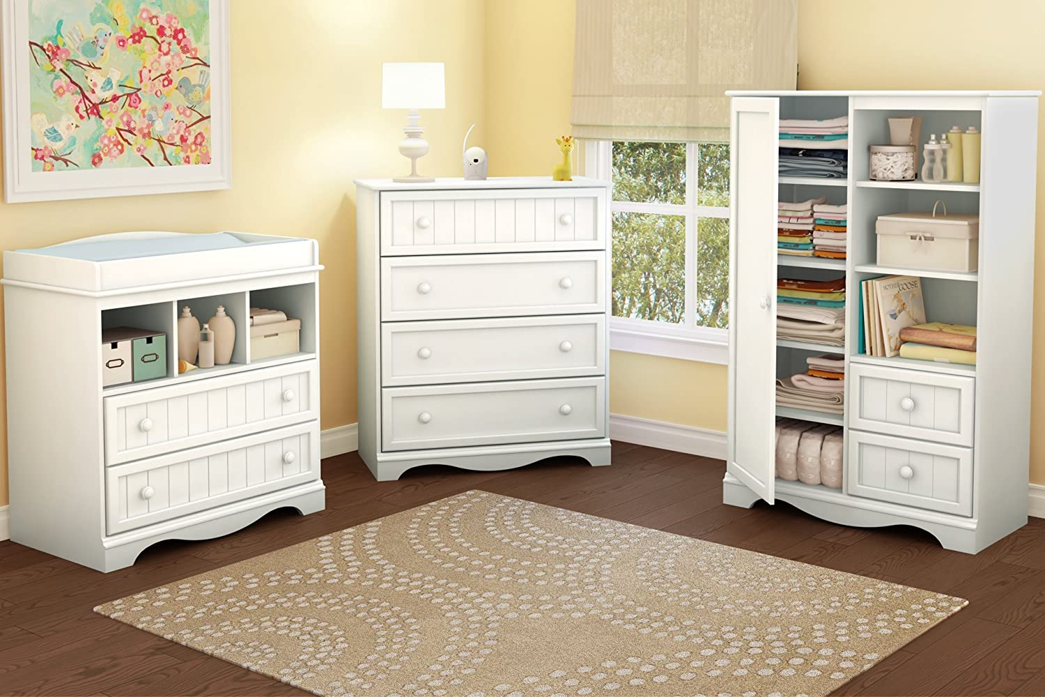 Amazon.com : South Shore Savannah 2 Drawer Changing Table, Pure White : South  Shore White Changin : Baby