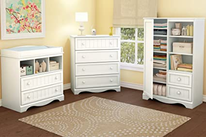 Amazon.com: South Shore Savannah 2 Drawer Changing Table, Pure White: Baby