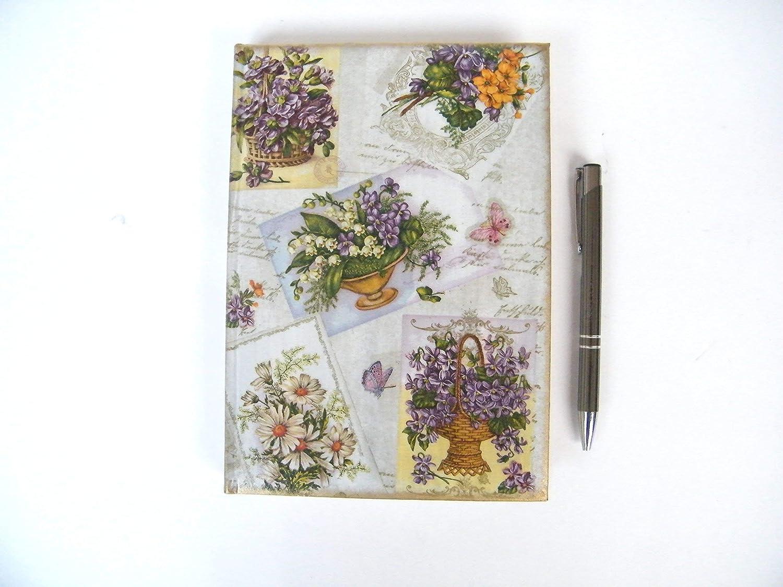 Agenda 2020 Floral Diario con Horario Regalo para Navidad Mujer Planificador A5 Vista por Dia Castellano Tapa Dura Violetas Vintage flores