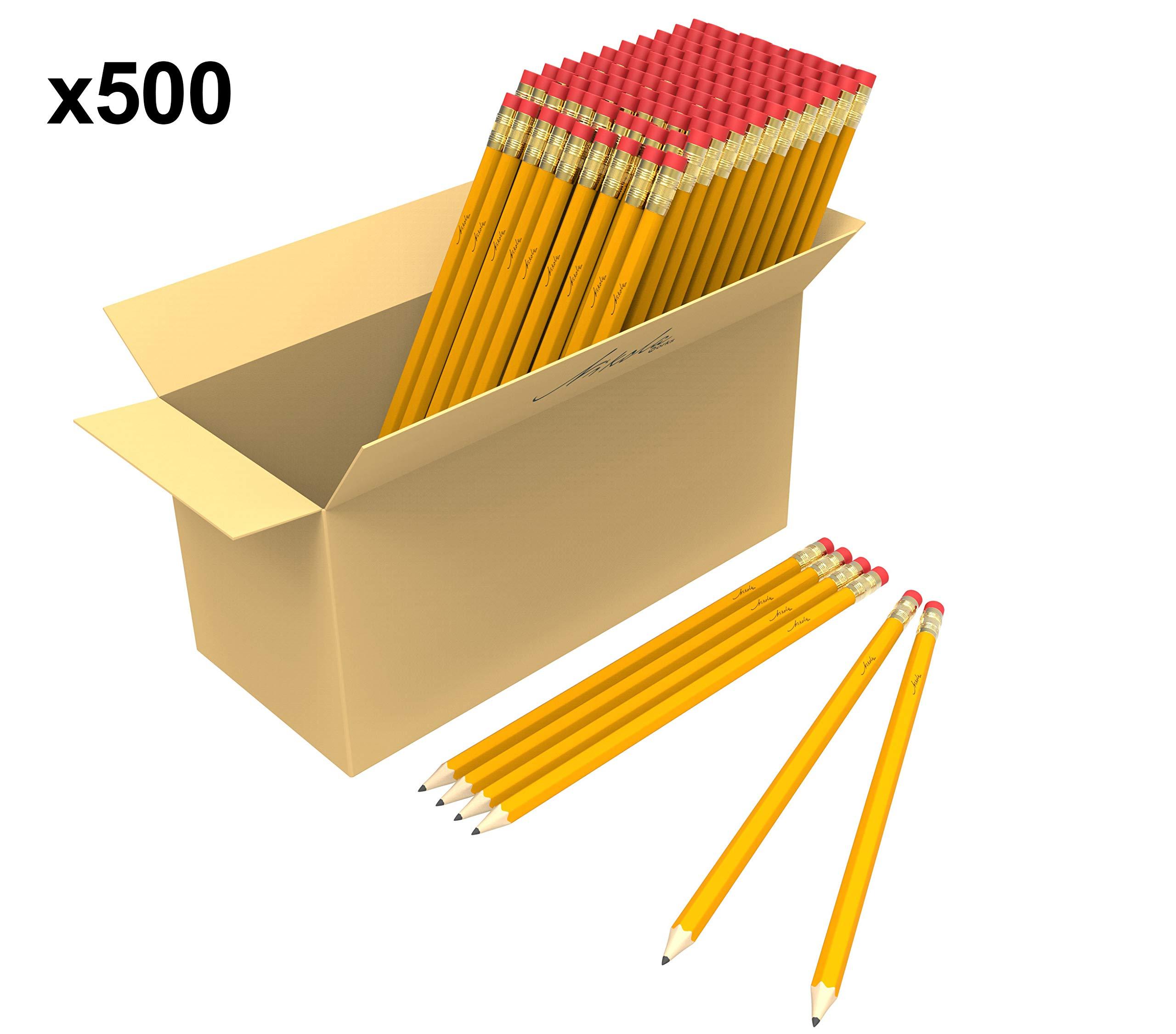 Bulk Premium Pre-Sharpened Wood Cased #2 HB Pencils 500 Pack by Nikola Works