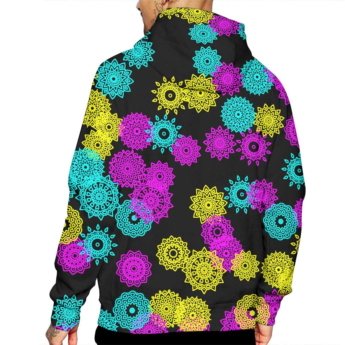 Amazon com: Men's Simple Mandala Patterns Print Hooded Sweatshirt