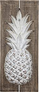 Creative Co-op Wood & Embossed Metal Pineapple Wall Décor