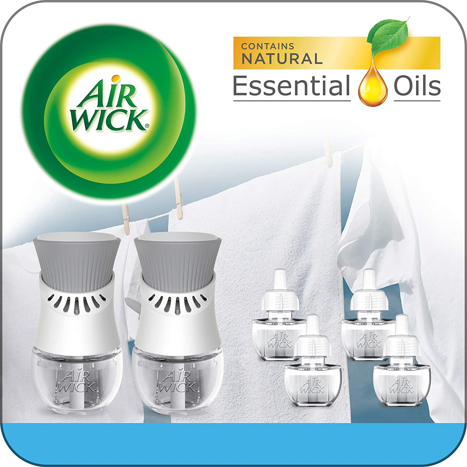Air Wick Plug in Scented Oil Starter Kit, 2 Warmers + 6 Refills, Fresh Linen, Same Familiar Smell of Fresh Laundry, Eco Friendly, Essential Oils, Air Freshener