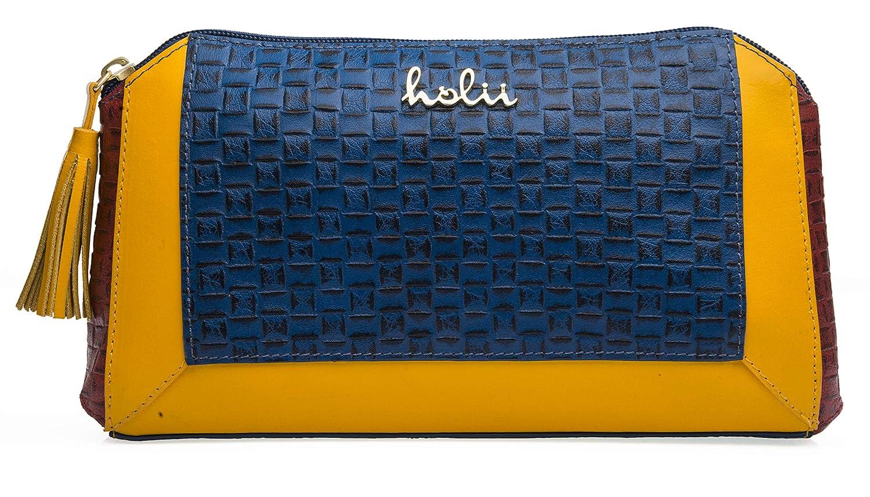 Holii Ghajni 04 Women's Clutch (Navy Blue & Mango Yellow)