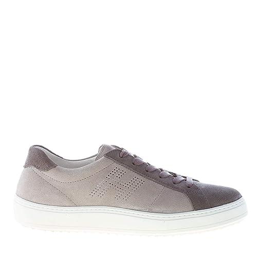 Hogan Uomo Sneaker H302 in camoscio Grigio più Piombo Color Grigio Size 41  EU (7 d0ce49a84e9