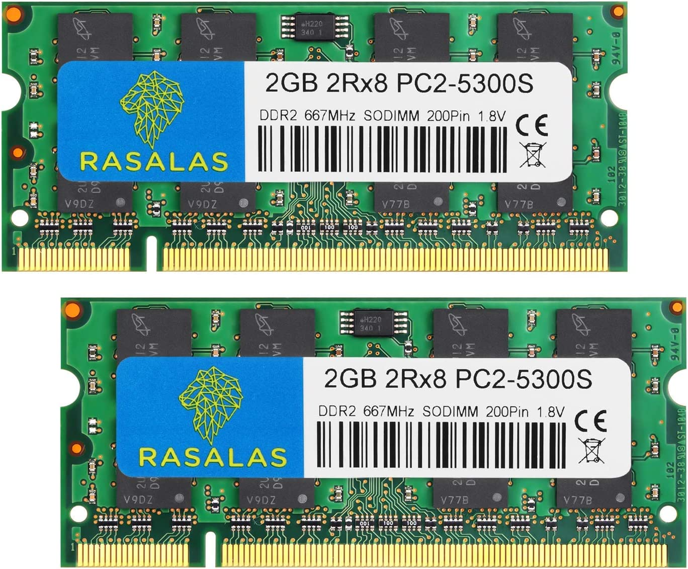 Rasalas PC2-5300 DDR2 667 DDR2 4GB Kit (2x2GB) DDR2 PC2-5300 DDR2 Sodimm PC2-5300S 1.8V CL5 RAM Memory Modules for Intel, MAC, AMD System Notebook Laptop