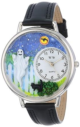 whimsical watches unisex u1220032 halloween ghost black skin leather watch