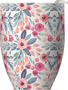 Asobu Imperial Beverage Insulated Cup For Coffee or Tea With Lid 10 Ounce (Floral)