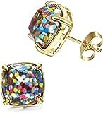 LOYALLOOK Stainless Steel Square Studs Multi-Glitter Stud Earrings for Womens Girls 10mm Rose Gold Tone
