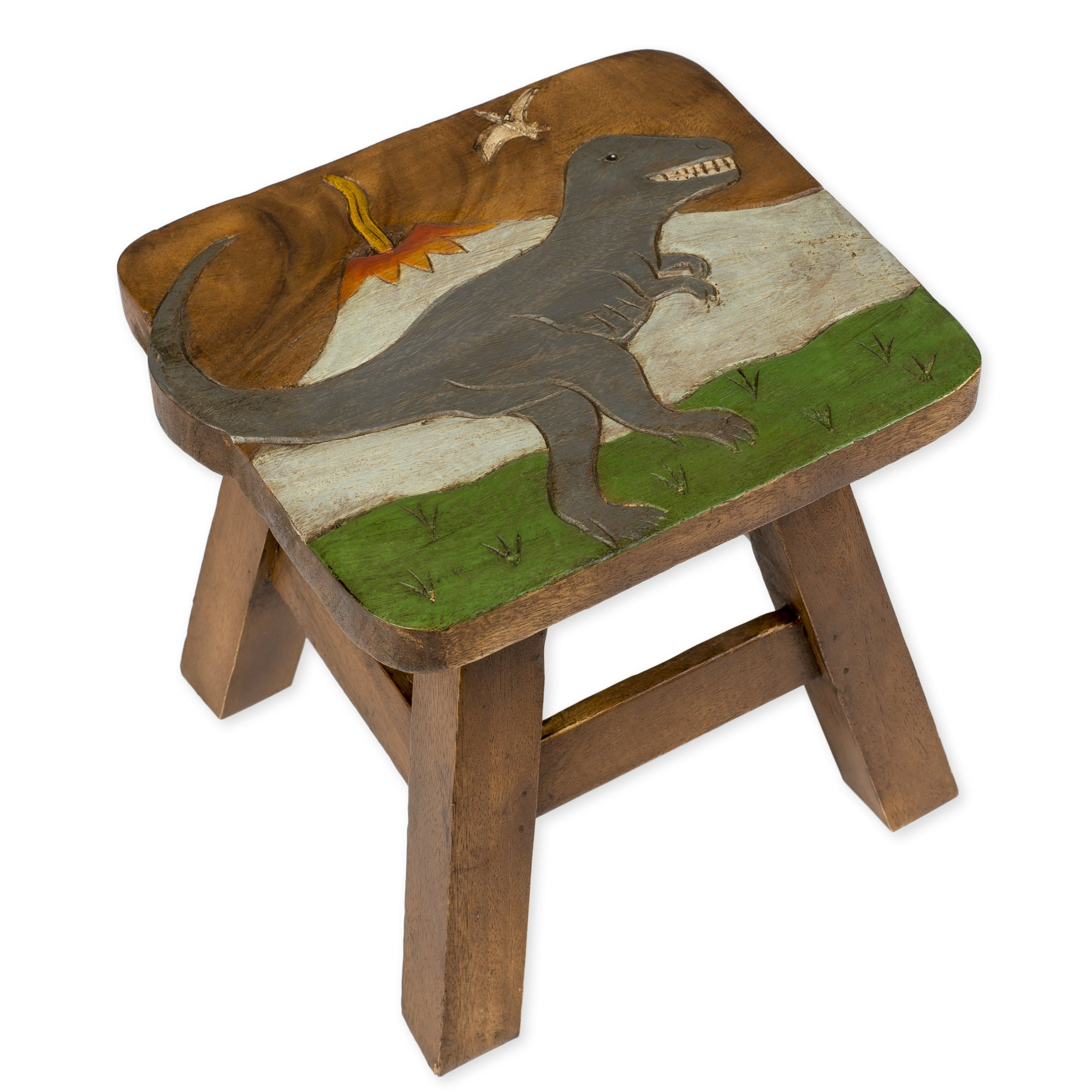 Tyrannosaurus Rex Dinosaur Design Hand Carved Acacia Hardwood Decorative Short Stool by Sea Island Imports (Image #1)