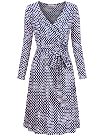 5475bad13b2f5 MOOSUNGEEK Women s Vintage V Neck A Line Faux Wrap Dress with Belt ...