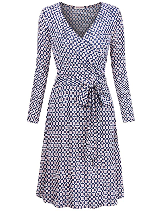 70s Dresses – Disco Dress, Hippie Dress, Wrap Dress MOOSUNGEEK Womens Vintage V Neck A Line Faux Wrap Dress with Belt $29.99 AT vintagedancer.com