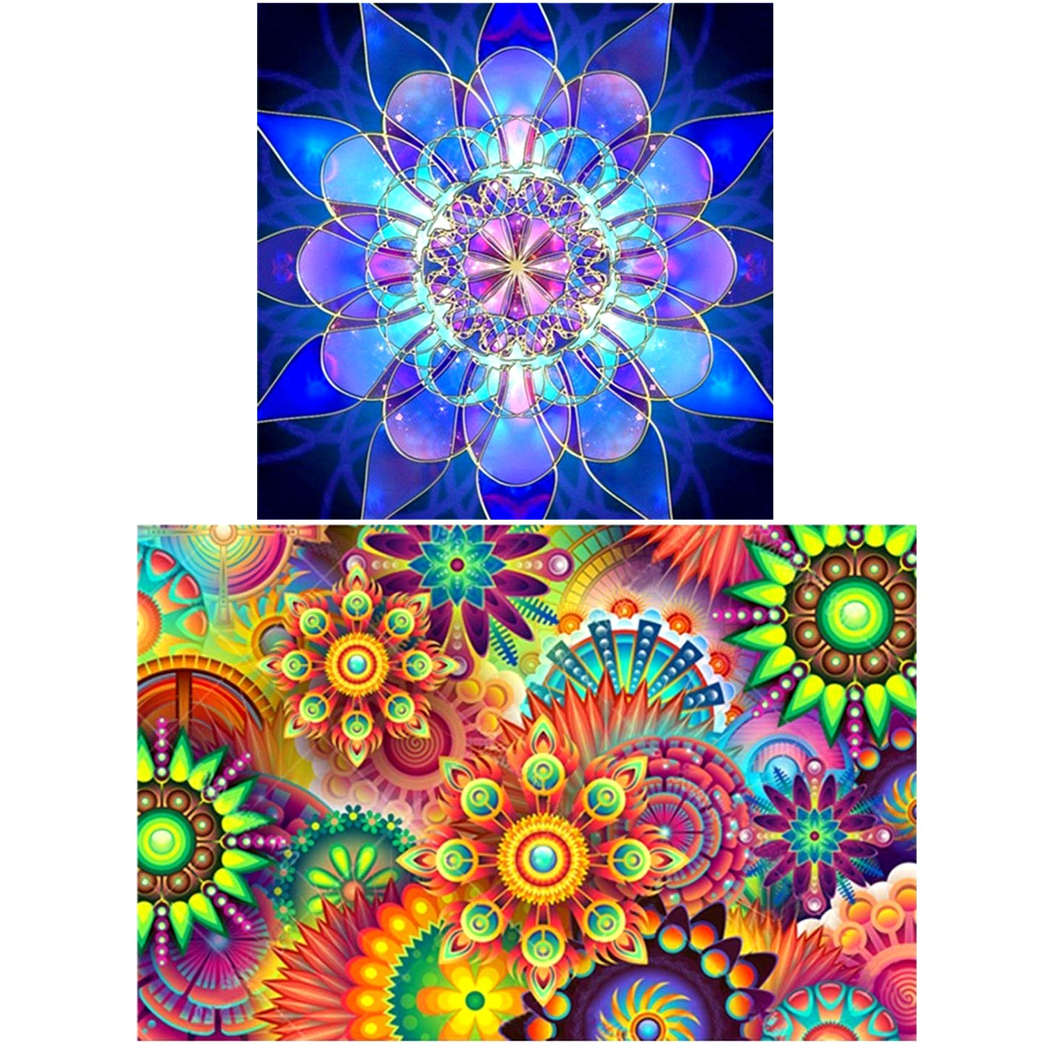 2 Pack 5D DIY Diamond Painting by Number Kits,for Kaleidoscope Mandala (17.7X12inch) Geometric Blue Flower(12X12inch) UPINS