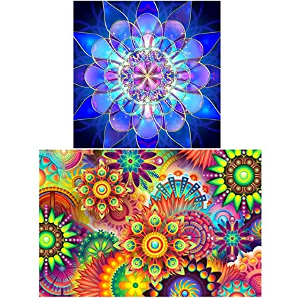 49880ba43a Image Unavailable. Image not available for. Color: 2 Pack 5D DIY Diamond  Painting by Number Kits,for ...