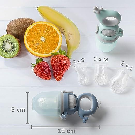 TABRIX/® Fruchtsauger Baby ab 4 Monate /& Kleinkind attraktives Design /& integrierter Messbecher Alternative f/ür Baby Schnuller und Bei/ßring Obstsauger - Zahnungshilfe mit Druckfunktion 2Stk