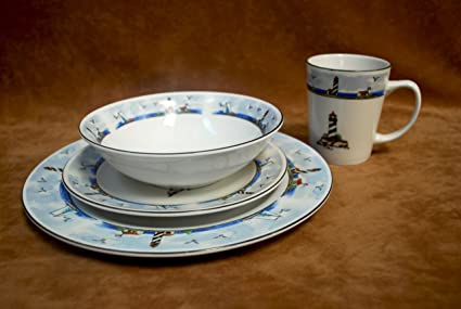 16 pc Lighthouse Light House Dinnerware Dishes Set : lighthouse dinnerware - Pezcame.Com